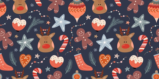 Christmas seamless pattern with winter elements