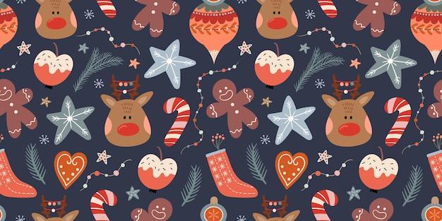 冬の要素とクリスマスのシームレスなパターン
