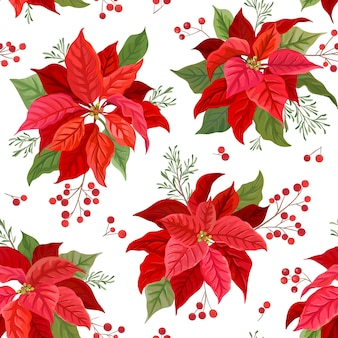 Christmas seamless pattern with winter flower, poinsettia, mistletoe, branches of rowan tree with berries. hand drawn floral vector illustration for wrapping paper, textile, fabric, print, wallpaper