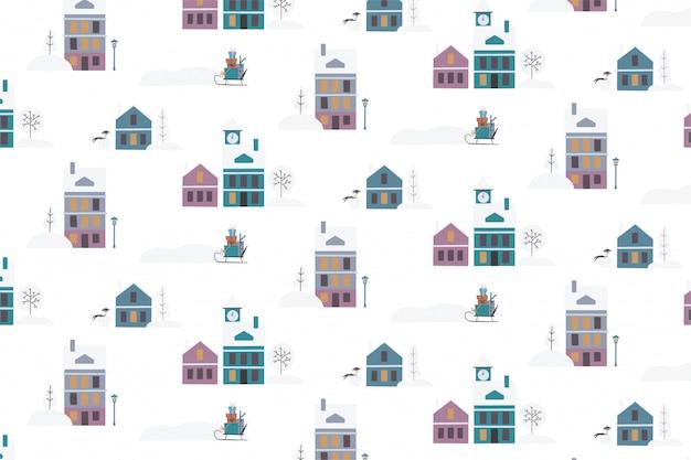 Рождество бесшовные модели с зимними домами
