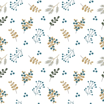 Christmas seamless pattern with winter plants and berries
