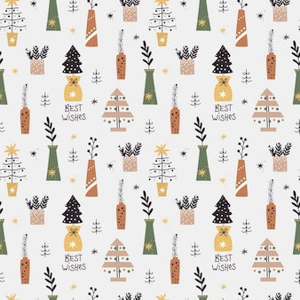 Christmas seamless pattern with with christmas trees and twigs in vases