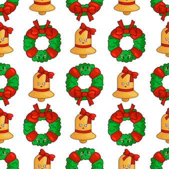Christmas seamless pattern with wreath, golden bell, endless texture for textile