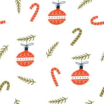 Рождественский фон с рождественскими шарами. рисованной текстуры для зимних праздников.