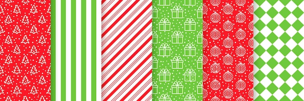 Christmas seamless pattern. xmas backgrounds. prints with tree, stripe, snow, gift box, balls and checkered