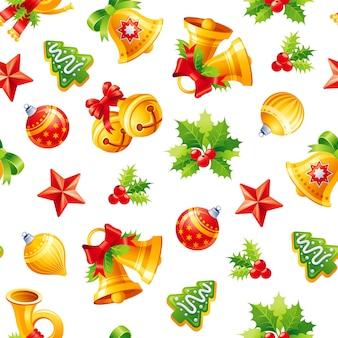 クリスマスのシームレスなパターン。クリスマスホリー、ジングルベル、ボール。休日のイラスト。