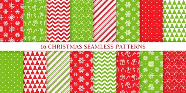 クリスマスのシームレスなパターン。クリスマス、新年の背景。 。現在、スノーフレーク、キャンディーケーンストライプ、水玉、ツリーと無限のテクスチャ。包装紙用ウェブテキスタイルの印刷。赤い緑のイラスト