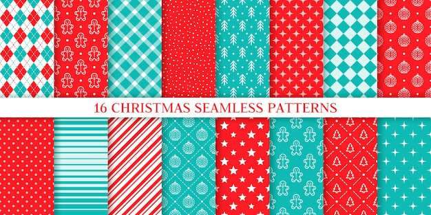 Christmas seamless pattern. xmas, new year texture. backgrounds with gingerbread man, tree, snow, plaid, ball, star, stripes, rhombus. set prints. festive wrapping paper. red blue illustration