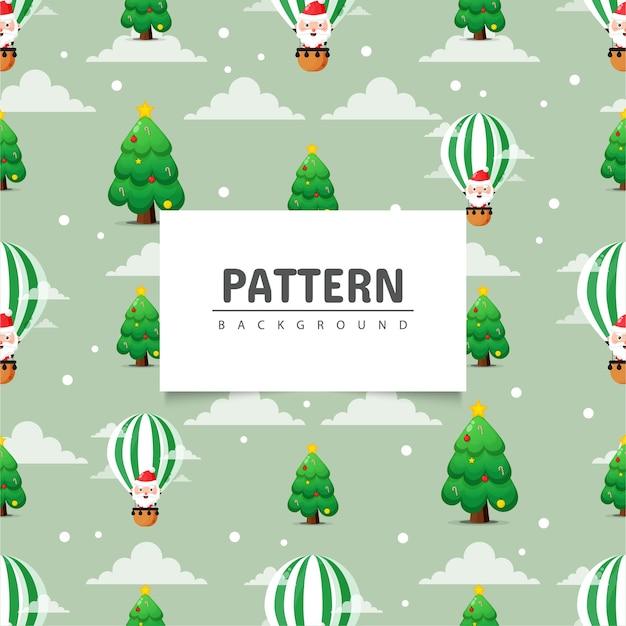 クリスマスのシームレスなパターン。クリスマスツリーと熱気球のかわいいサンタクロース