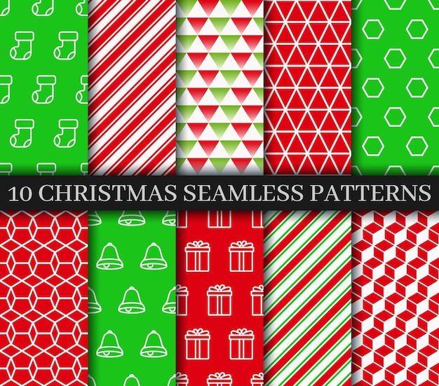 Christmas seamless patterns collection.