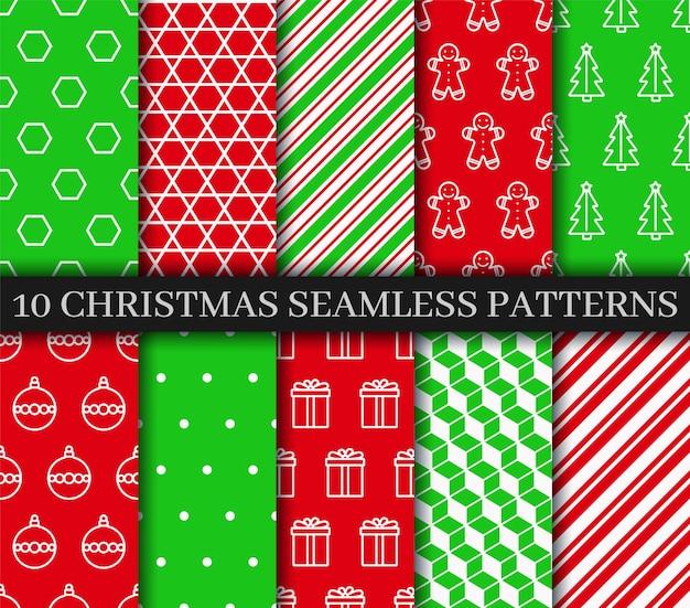 Коллекция рождественских бесшовные шаблоны.