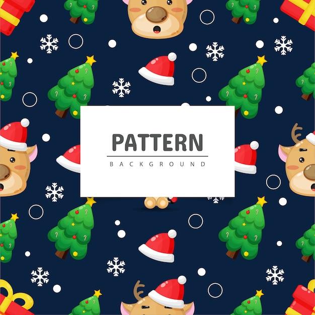 クリスマスのシームレスなパターン。かわいい鹿とクリスマスツリー