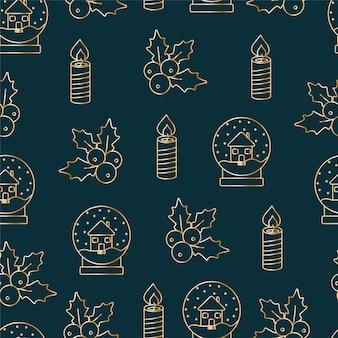 어두운 찾기에 금색 요소가 있는 크리스마스 원활한 패턴 인쇄