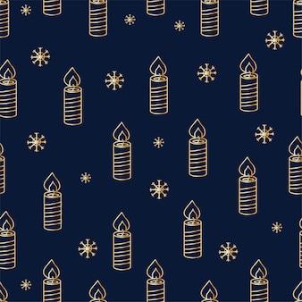 어두운 배경에 금색 개체가 있는 크리스마스 원활한 패턴 인쇄