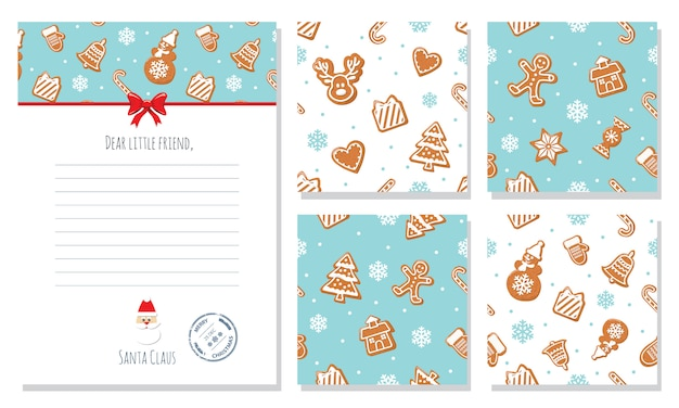 Christmas seamless patterns and santa letter template