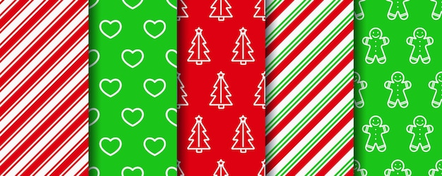 Christmas seamless patterns set. new year texture. holiday wrapping paper.