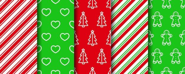 Набор рождественских бесшовные шаблоны. новогодняя текстура. праздничная упаковочная бумага.