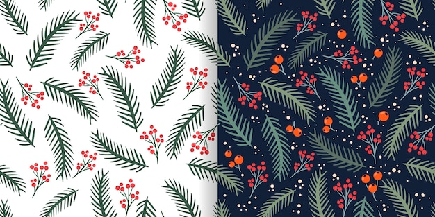 Christmas seamless patterns set with pine branches