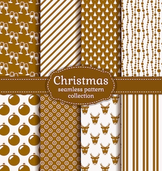 Christmas seamless patterns. set.