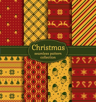Christmas seamless patterns. set.