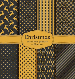 Christmas seamless patterns set