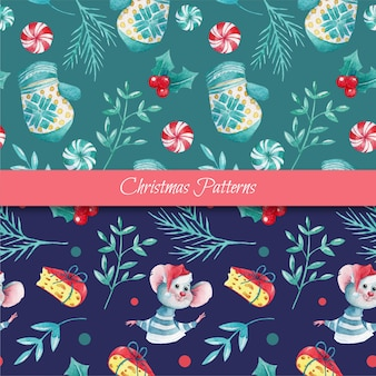 Christmas seamless patterns with watercolor elements