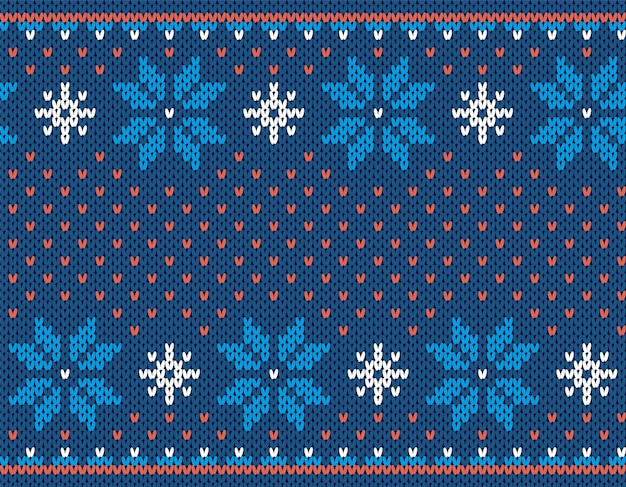 クリスマスのシームレスなプリント。ニットパターン。ブルーのニットセーターの質感。クリスマスの冬の幾何学的な飾り