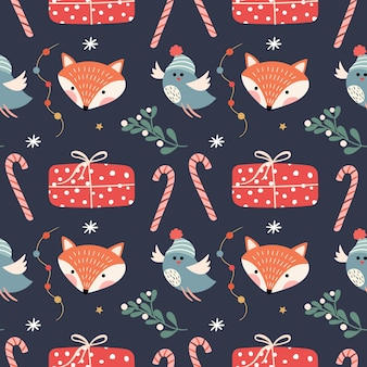 Christmas seamless pttern with foxes, birds and christmas gifts