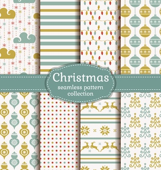 Christmas seamless retro pattern collection