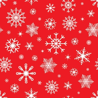 Christmas seamless  with snowflakes. snowflake  pattern on red background. winter