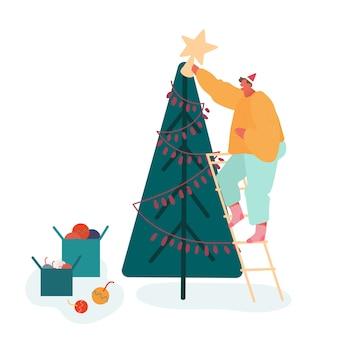 Рождественский сезон и зимний семейный праздник, мужчина или папа украшают елку. характер людей празднует канун нового года. веселая рождественская вечеринка.