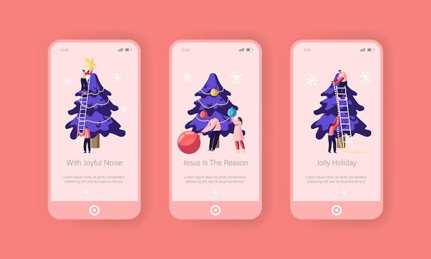 クリスマスシーズンのモバイルアプリページのオンボード画面セット。