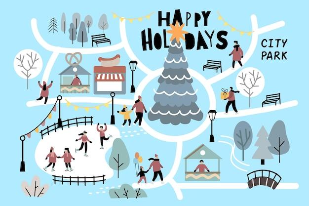 Люди рождественского сезона в парке. зимний город на открытом воздухе с рождественской елкой.