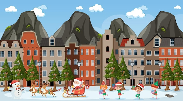 Christmas season theme with santa and many children walking on the road scene
