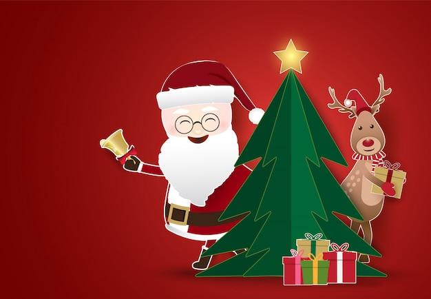 Christmas season with santa and deer holding gift box