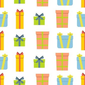 흰색 바탕에 선물 상자가 있는 크리스마스 semless 패턴입니다. 벡터 일러스트 레이 션