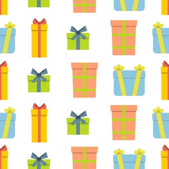 Christmas semless pattern with gift box on white background. vector illustration