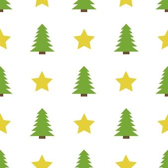 白い背景の上の星とクリスマスツリーとクリスマスのsemlessパターン。ベクトルイラスト