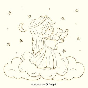 Christmas sepia angel background