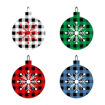 Christmas set balls with buffalo plaid ornament in red green blue  black  and snowflakes