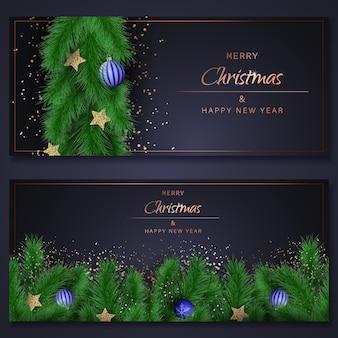 Christmas set banners. merry christmas illustration.