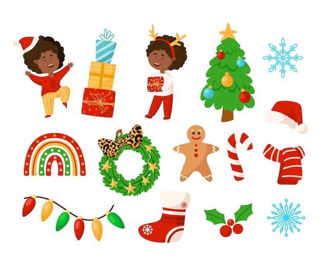 クリスマスセット-漫画のアフリカ系アメリカ人の男の子と女の子、クリスマスリースとツリー、お祝いの装飾
