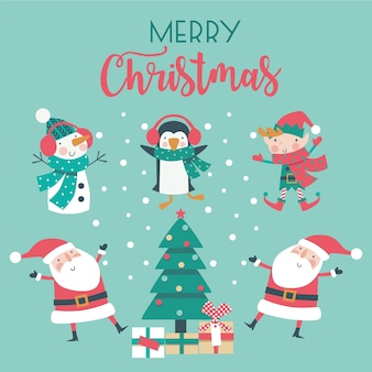 Christmas set of cartoon characters and tree on blue