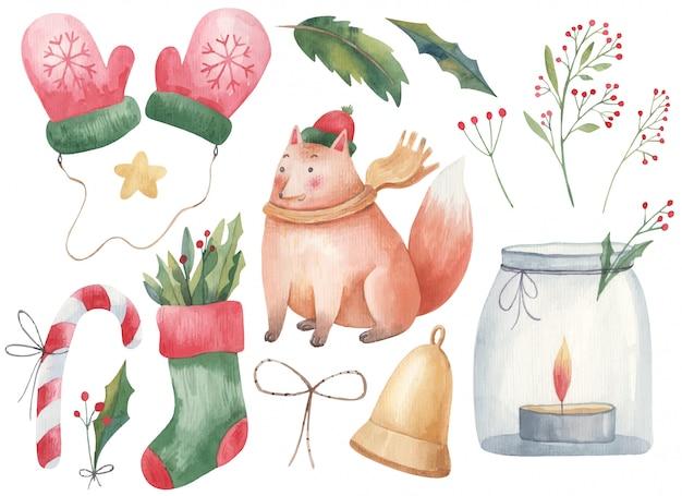 Рождественский набор детской акварельной иллюстрации с лисой, перчатками, варежками, рождественским носком, леденцом, свечой в банке, подсвечником и веточками