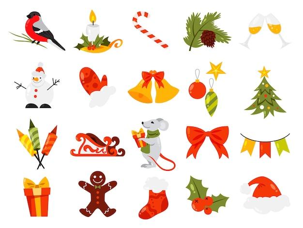 크리스마스 세트. 귀여운 겨울 휴가 장식의 컬렉션입니다. 사탕과 촛불, 선물 및 종. 삽화