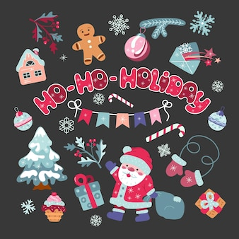 Christmas set of cute elements in cartoon style.