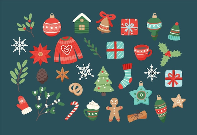 Christmas set, cute seasonal elements