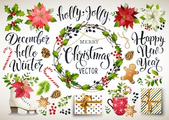 Christmas set design composition of poinsettia, fir branches, cones, holly