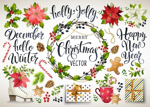 Christmas set design composition of poinsettia, fir branches, cones, holly