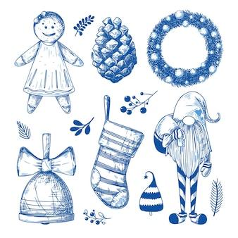 クリスマスセット。白い背景の上のさまざまなクリスマスの要素。スケッチ、